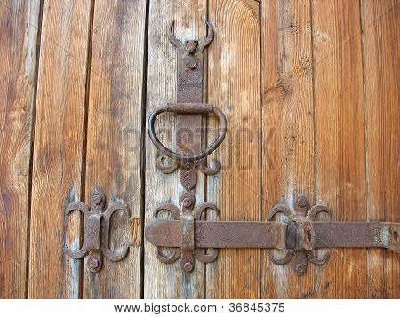Ancient Wooden Door Rustic Metallic Detail
