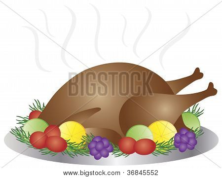 Thanksgiving Day Baked Turkey Dinner Illustration