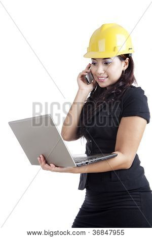 Beautiful Engineer With Mobile Device