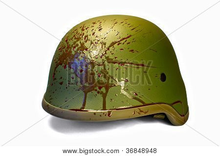 Military Or Police Helmet With Blood Splattered. Isolated. Clipping Path.