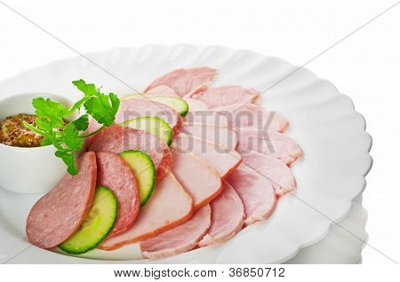 appetizer from meat isolated on a white background