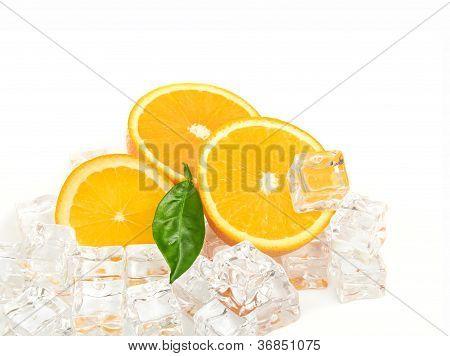 Orange and ice cubes food background on white