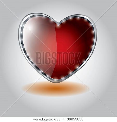 red heart shaped glass button. vector illustration on valentine`