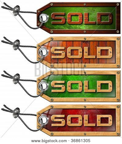 Set Sold Tags On White Background