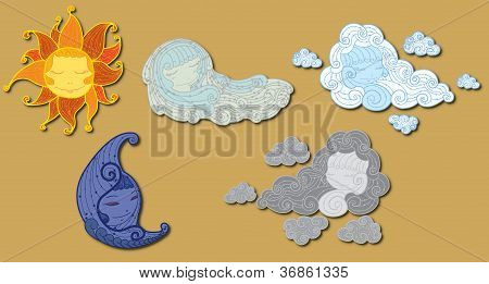 Elements of weather. Vector illustration set