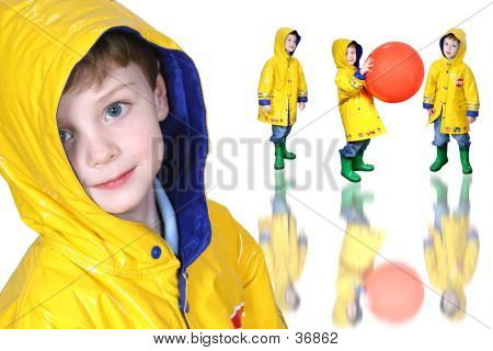 Collage Of Boy In Yellow Raincoat And Froggie Boots
