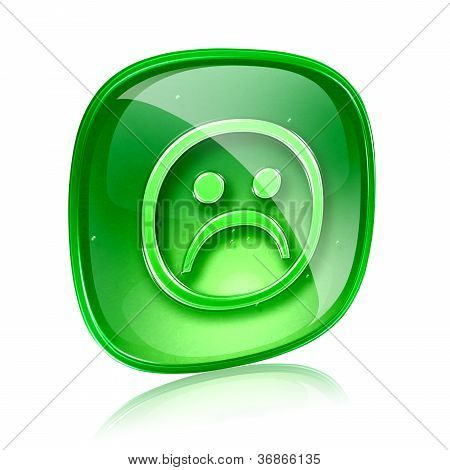 Smiley Dissatisfied Green Glass, Isolated On White Background.