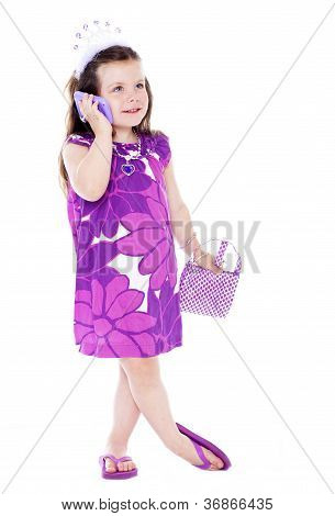 Pretty Little Girl Playing Dress Up