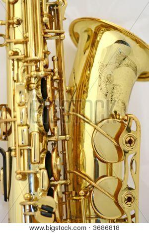 Saxophone\ 的响铃的特写