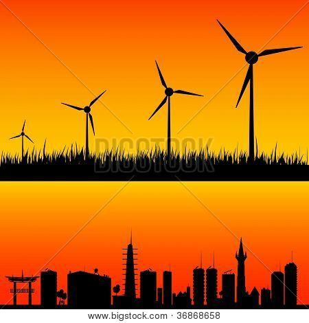 Windmühlen Strom Vektor generieren