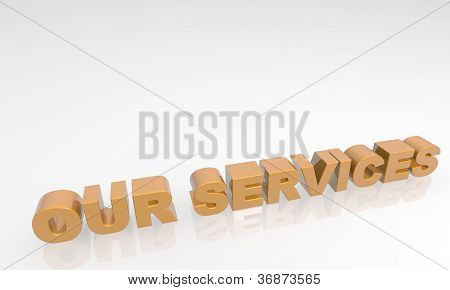 Our Services - 3d text with a white background and reflection