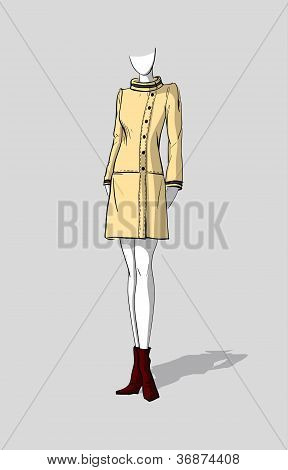 Woman in short beige autumn coat
