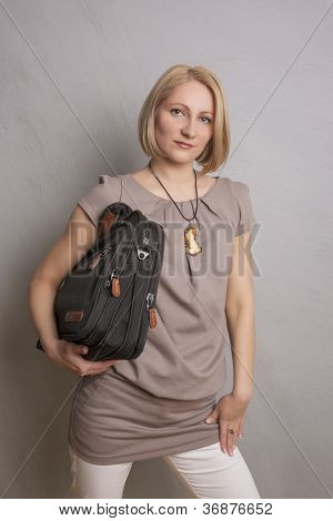 Business Woman Holding Brief Case