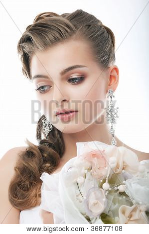 Pretty Gentle Fashion Fiancee With Flowers In Studio