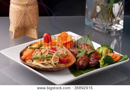 Sausage And Thai Som Tum Salad