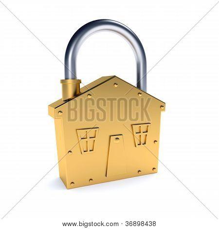 Bronze Lock - House Shape