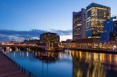 stock photo of prudential center  - Boston waterfront by night Massachusetts  - JPG