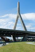image of paul revere  - Zakim bridge from Paul Revere park in Boston Massachusetts  - JPG