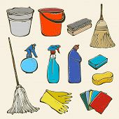 picture of dust-bin  - Set of cleanings tools isolated on a beige background - JPG