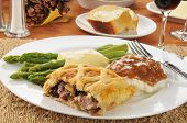 foto of beef wellington  - Beef wellington with asparagus and mashed potatoes - JPG