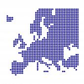 Map Of Europe With Blue Dots And Euro Sign poster