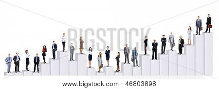 Business-Leute-Team und Diagramm. Isolated over white background