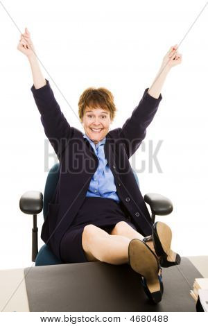 Businesswoman At Desk - Overjoyed