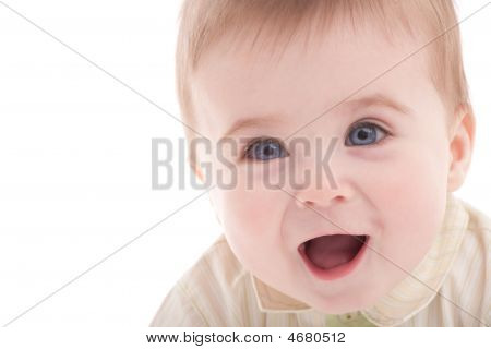 Portrait Of Joyful Blue-eyes Baby Boy