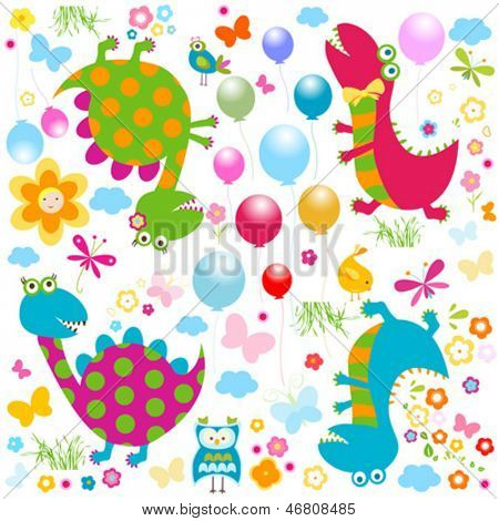 happy cute colorful dinosaurs background