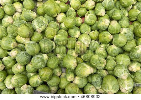 Lots of brussels sprouts in an open air market