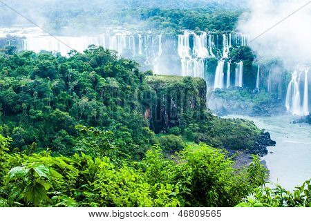 Iguassu Falls, The Largest Series Of Waterfalls Of The World, View From Brazilian Side