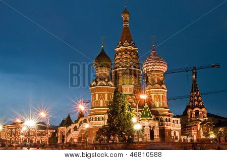St Basils Cathedral At Night