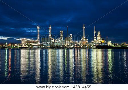 Oil refinery at twilight Chao Phraya river Thailand