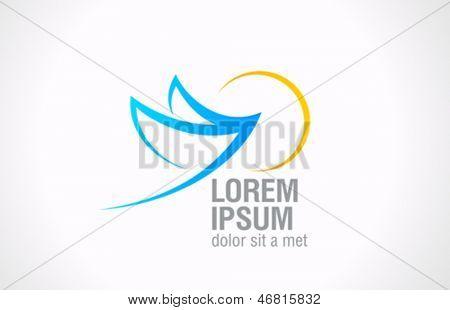 Bird Flying to sun abstract logo template. Vector icon. Editable.