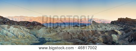 Panorama of The Badlands and Zabriskie point at sunrise. Death Valley National Park, California, USA