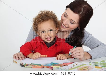 Woman playing with her kid