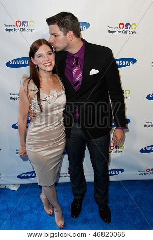 NEW YORK-MAY 29: Olympic fencer Tim Morehouse and wife Rachael attend the Samsung Hope for Children gala at Cipriani Wall Street on June 11, 2013 in New York City.
