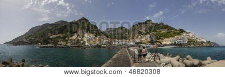 A panoramic image blended from 10 photographs of Amalfi a fishing and tourist village on the Amalfi Coast