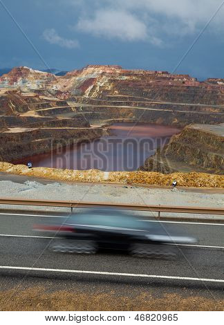 Rio Tinto mine and car trail