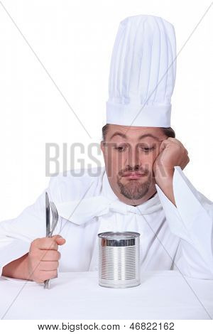 Cook with cutlery and tin can