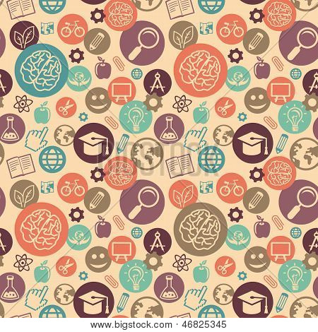 Vector Seamless Pattern With Education Icons