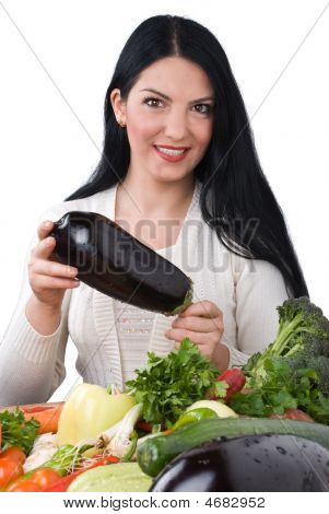 Woman With Eggplant