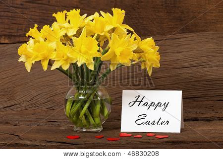 Easter Greeting With Daffodils