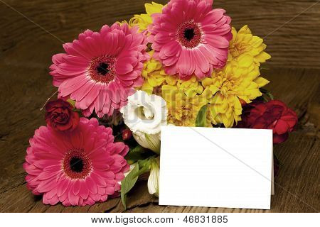 Writable Greeting Card With Colorful Flowers