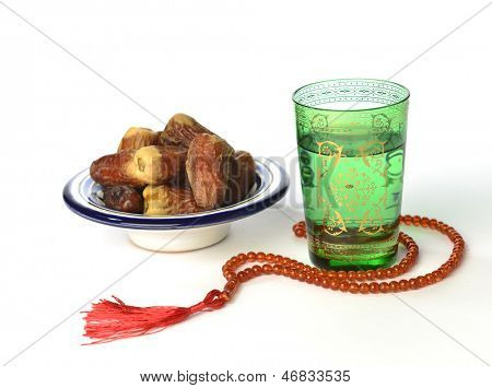 Arabic dates, water and rosary