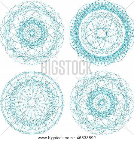 Set Of Four Guilloche Rosette, art illustration