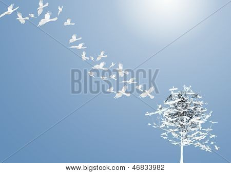 Abstract Tree With White Birds