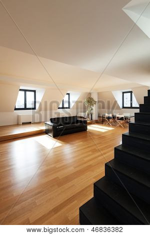 interior, beautiful loft, hardwood floor, view staircase black
