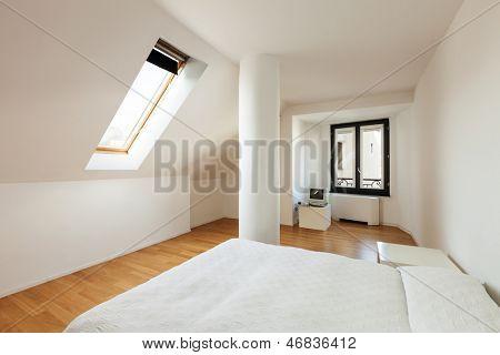 interior, new loft, hardwood floor, view of bedroom