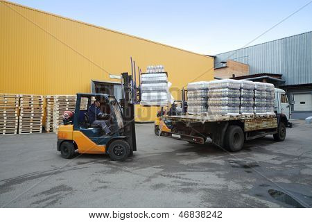 MOSCOW - OCT 16: Forklift loading pallets of beer bottles on truck in stock brewery Ochakovo, Oct 16, 2012 in Moscow, Russia. Ochakovo is largest Russian company beer and soft drinks industry